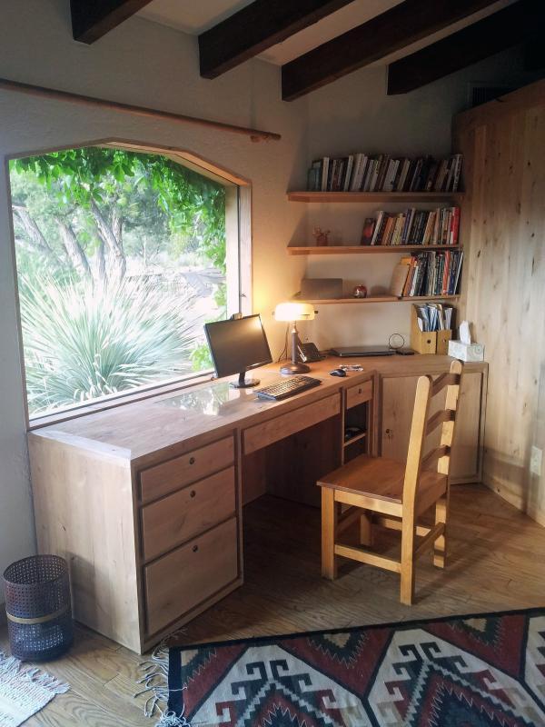 ...a spacious, custom alder desk...