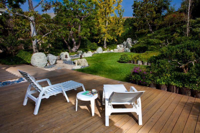 deck overlooking Japanese garden