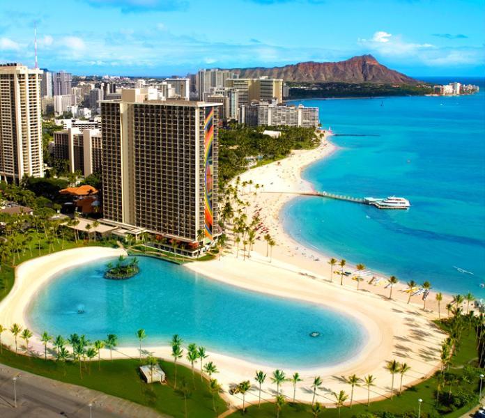 Duke Kahanamoku Lagoon, Waikiki, Diamond Head
