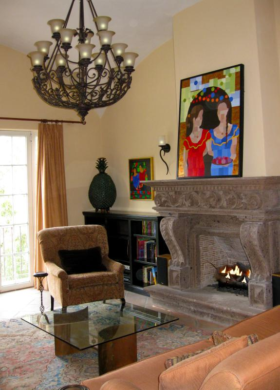 The main living room with gas logs