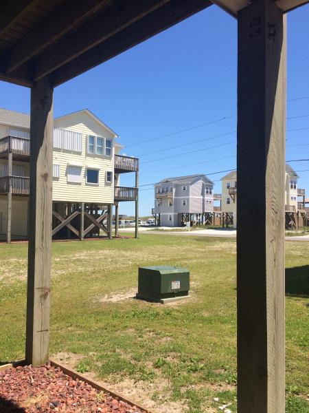 View of walk to beach access from carport. May 2015.