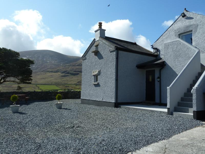 The entrance to the cottage with unsurpassed views of the Mourne mountains
