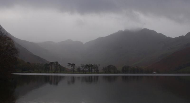 Buttermere, one of three lakes in the valley on an moody day. Atmospheric and mysterious