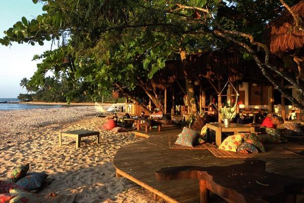 Restaurant by the beach in nearby touristic village