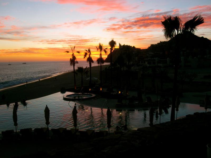 Sunset pool at sundown