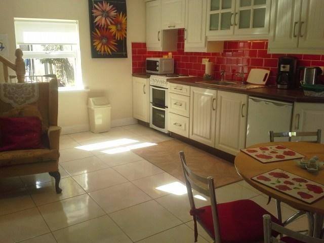 Bright cosy modern kitchen with oil stove