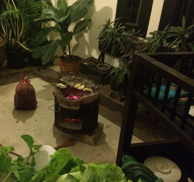 Thai barbecue on outside terrace....