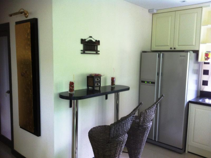 Breakfast counter & double-fridge....
