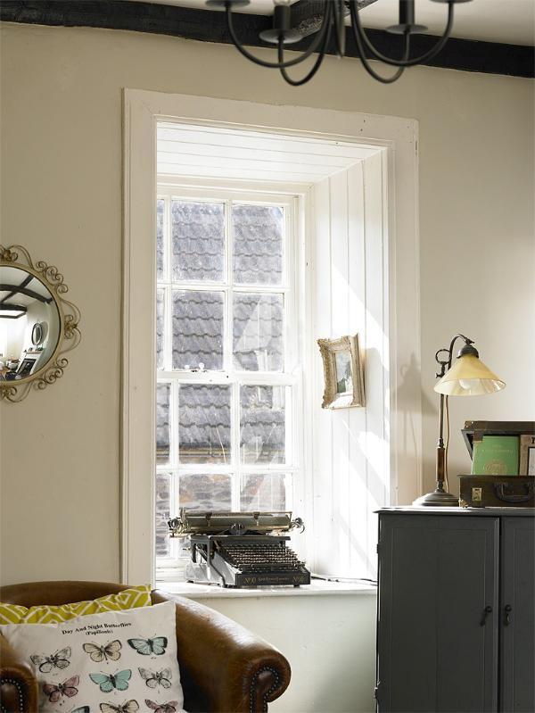 Original sash windows in the living room