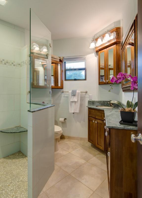 Teal Salle de bains avec beaucoup de miroirs. SEAT GRANIT ET EN PLUIE CHARGEURS ÉTAGES NON.