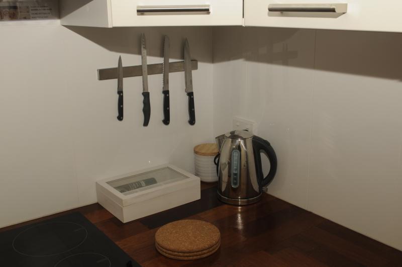 Every convenience, tea, herbal tea, sugar and coffee pods!