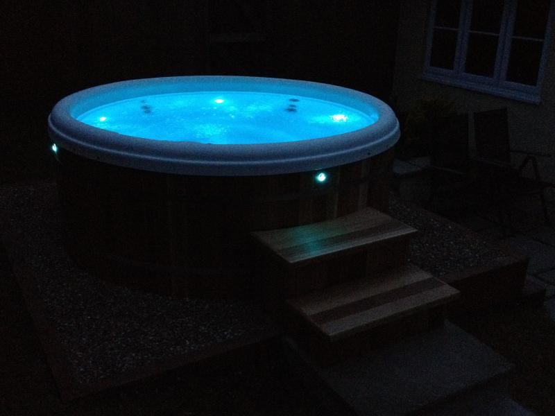 Night time LED Hot Tub light function - robes,slippers, towels provided