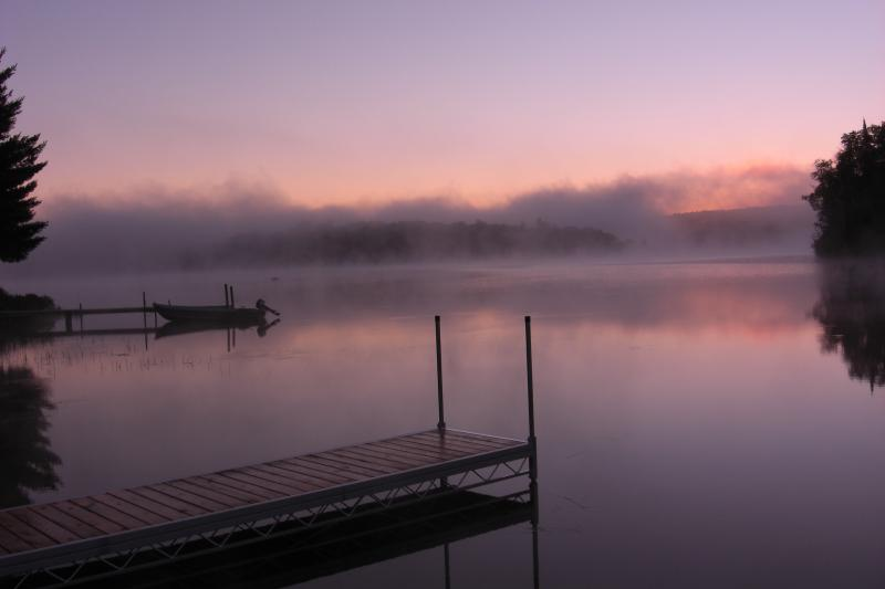 Foggy sunrise over Eagle lake taken from the outdoor deck