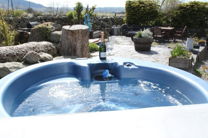 Beudy Bach hot tub in Garden