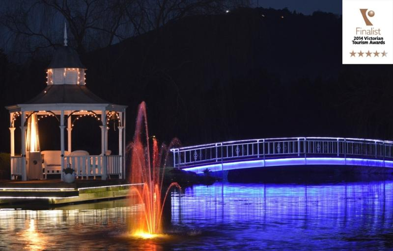 Bridge and gazebo in lights