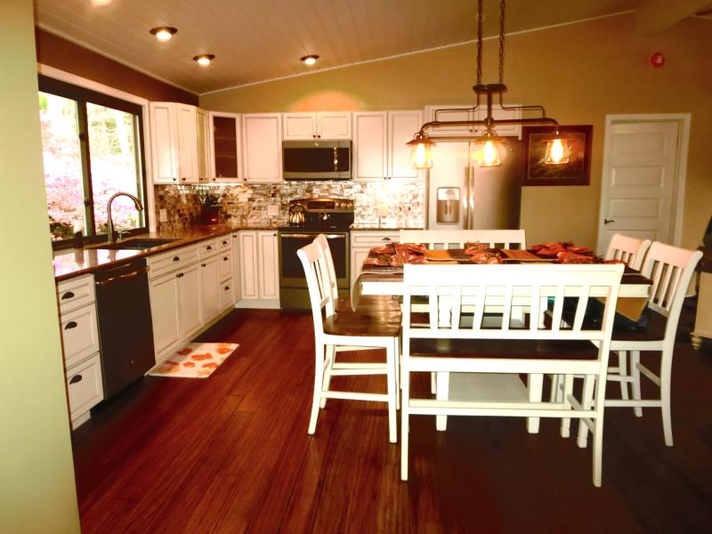 The fully stocked kitchen has plenty of work space for multiple cooks.