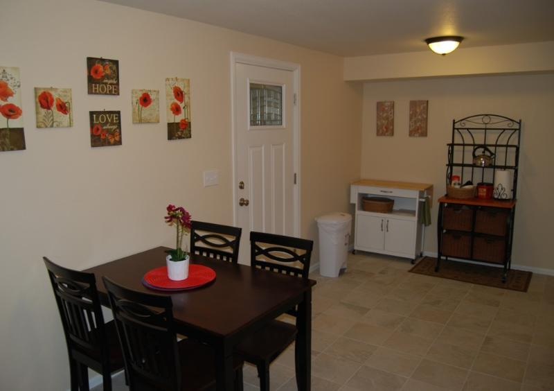 Kitchen view towards entrance