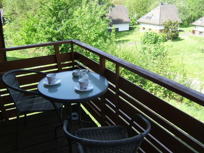 Blick in´s Grüne und auf den See bei einer Tasse Kaffee genießen