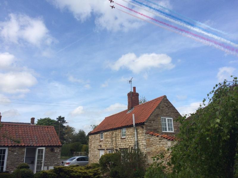 Red Arrows flying over the cottage in Scampton, home of the Red Arrows