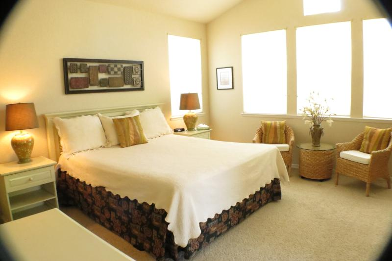 King bed with sitting area, mini fridge, coffee maker, propane log fireplace.