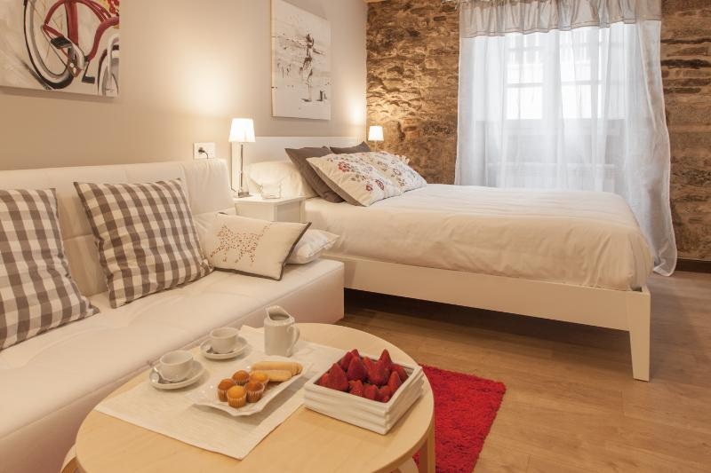 Zona de estar y zona dormir con cama 1,6
