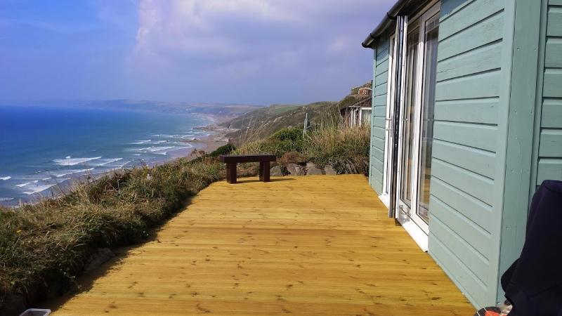 View of Windwhistle and Whitsand Bay from decking area.