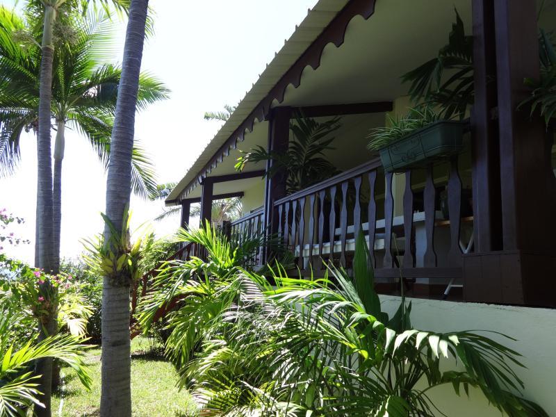 Facade on tropical garden.