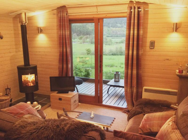 Cabin Lounge overlooking the Dyfi Valley