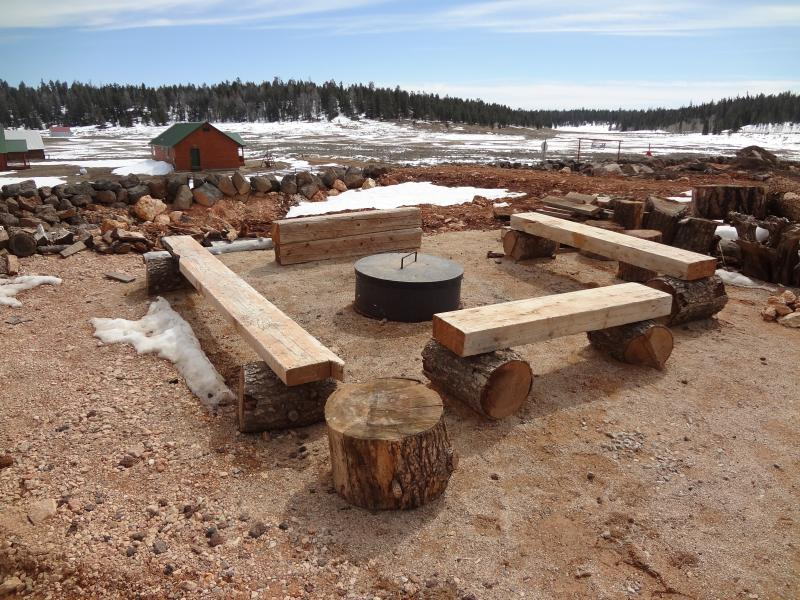 Fire pit located outside for campfires under the stars.