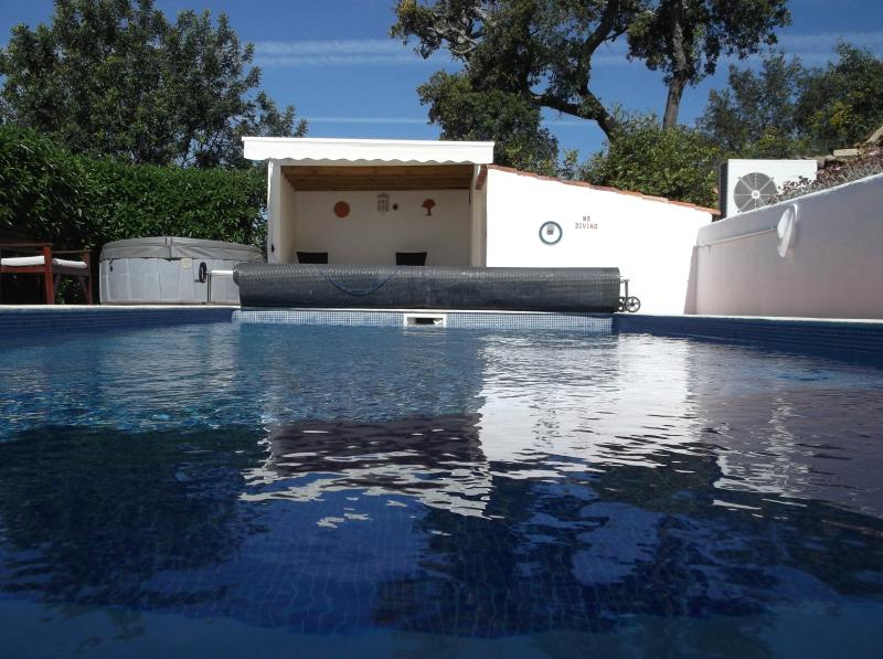 The 8x4 private pool at Lemon tree cottage with hot tub on the pool deck