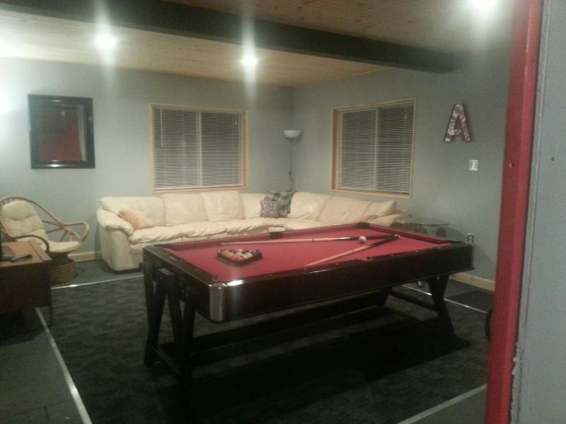 Great game room..high quality pool table flips over to an air hockey table..your choice