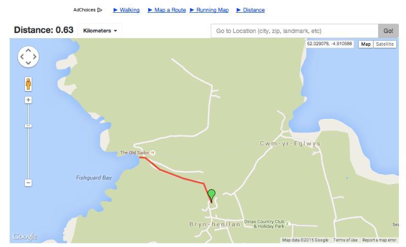 Google karta avståndet från Pencraig till Pwll beach ligger bara 1 km