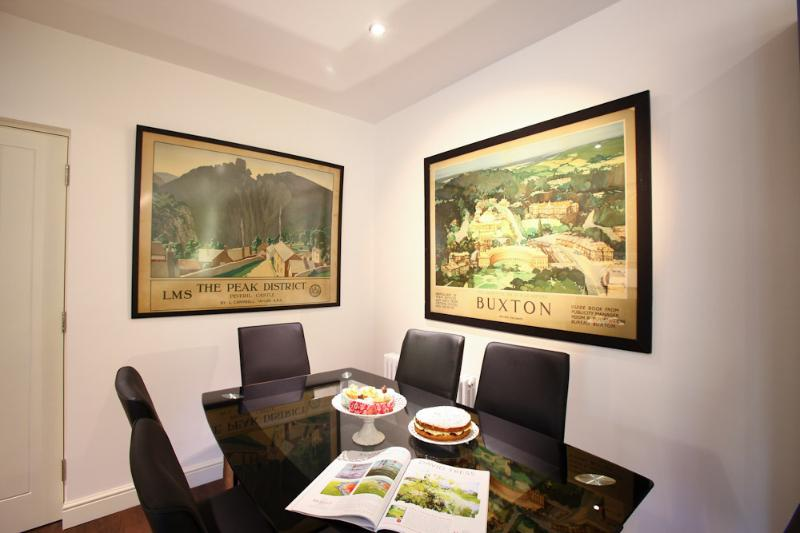 Dining area and view of our original Derbyshie travel posters.