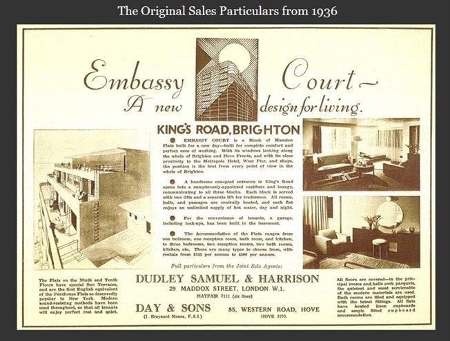 folleto original de 1930 para apartamentos Embajada de tenis