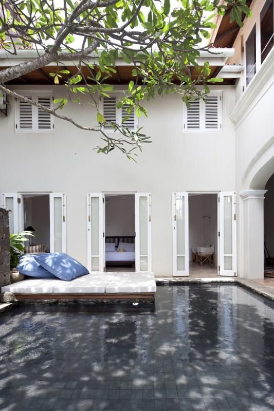 The Villa has a beautiful courtyard plunge pool and day bed