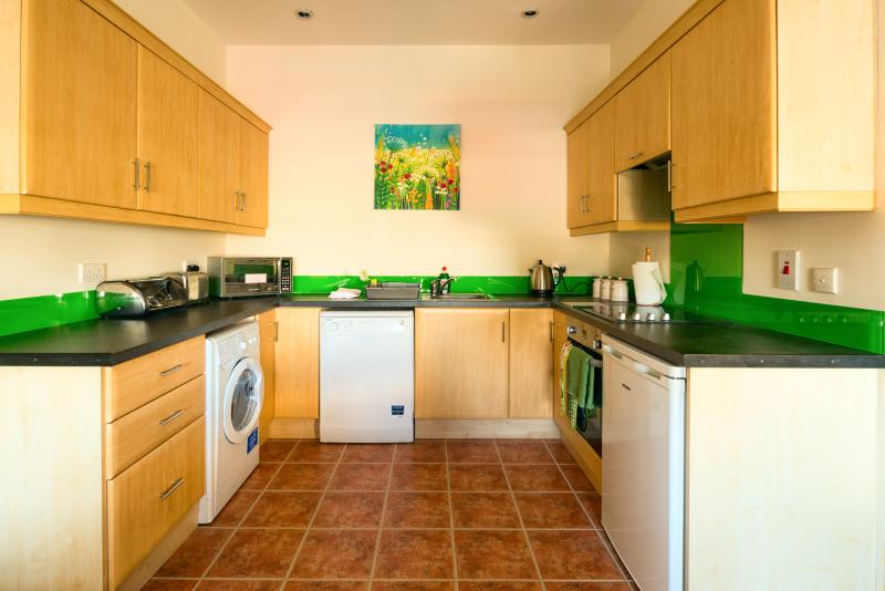 Fully fitted well equipped kitchen includes; oven, hob, microwave, dishwasher, washer/dryer.