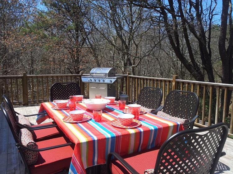 Outdoor table and chairs on the deck