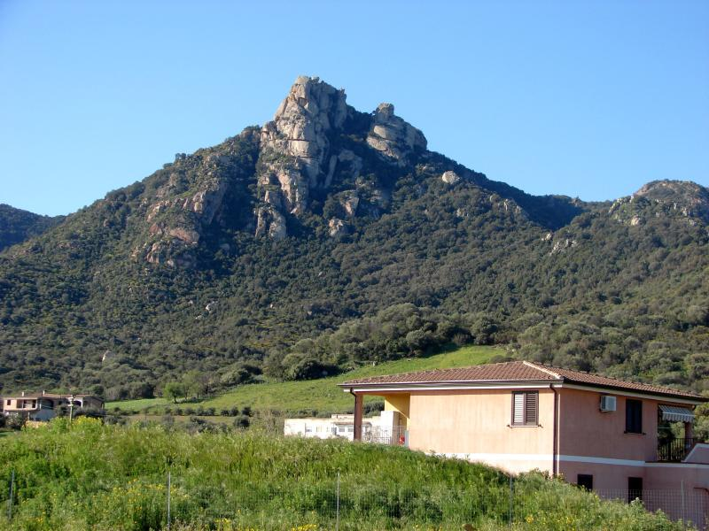 In the foreground our lovely house with a beautiful sight to Monte e Ferru.