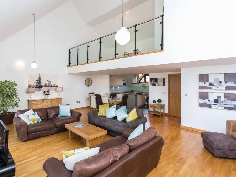 Huge open plan living area with additional mezzanine level