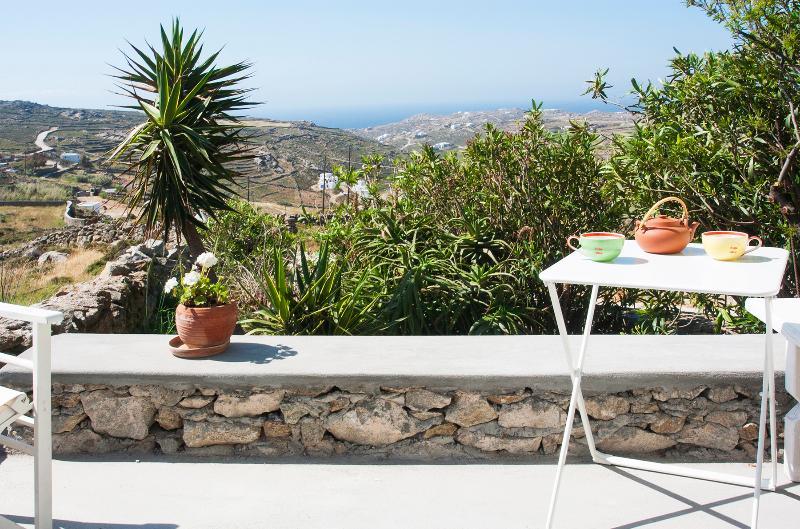 terrazza privata, vista sul giardino e sul mare.