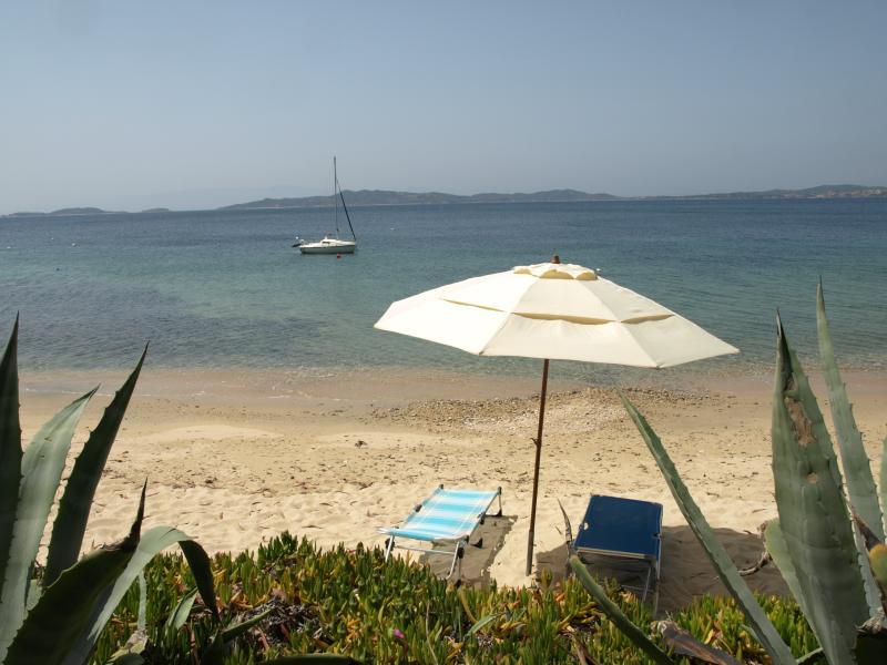 Free umbrella and sun beds