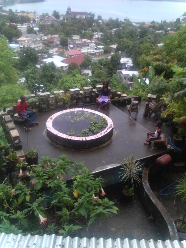 roof deck harbor view..fish pond now papaya garden...