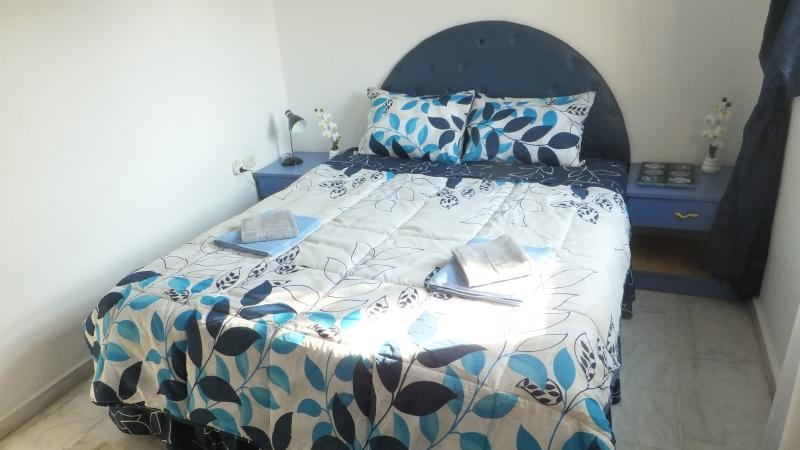 The Blue Bedroom on 2nd level of the villa with pool view