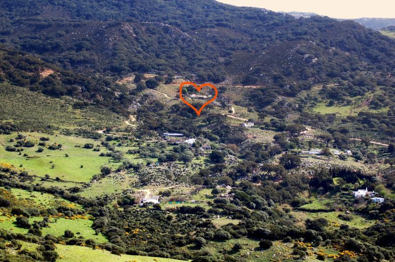 Estamos en el ¨corazòn¨del Parque Natural de los Alcornocales, 11 km de Tarifa y las playas.
