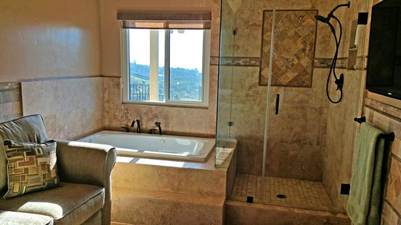 Master bathroom with jaccuzi and frameless shower