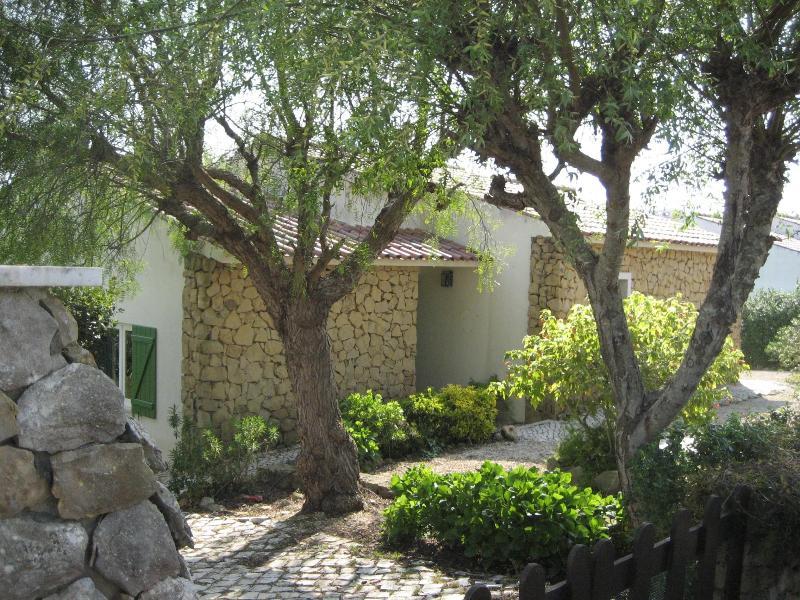Norte/calle fachada en piedra natural local con hortensias