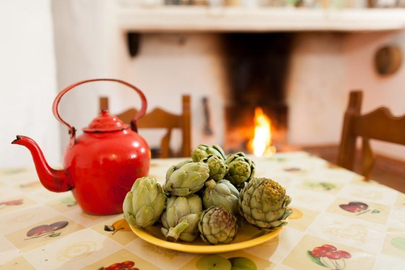 alcachofas y fuego