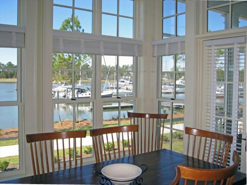 Dining looking out over Grace Harbor