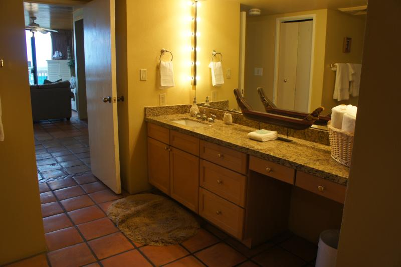 Bathroom view with newly installed granite counter tops!