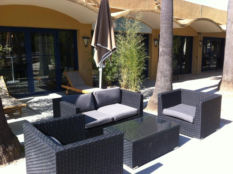 Relaxation corner near pool
